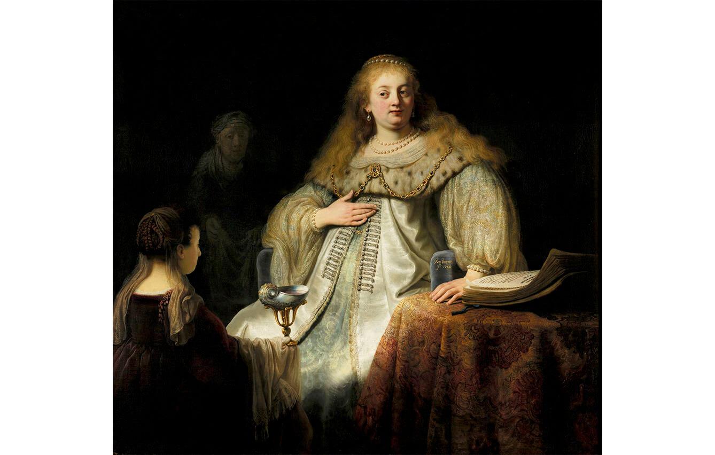 14 Judit en el banquete de Holofernes (antes Artemisa), Rembrandt (1634)
