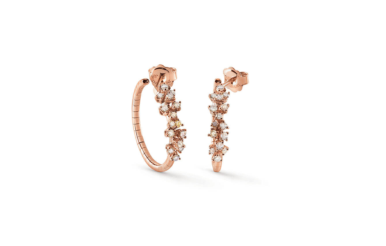 Aretes en oro rosa con diamantes